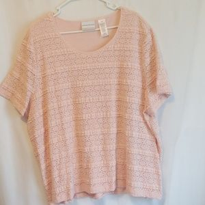 Alfred Dunner 3x peach lace top